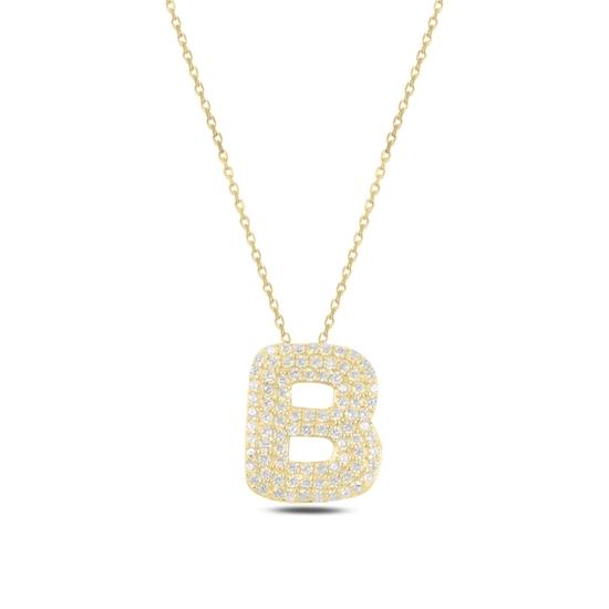 Ürün resmi: Altın Kaplama -B- Harfi Zirkon Taşlı Gümüş Bayan Hayalet Kolye