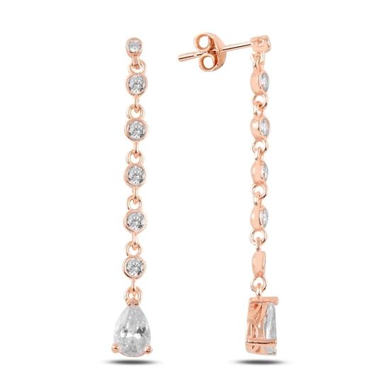 Ürün resmi: Rose Kaplama Damla Zirkon Taşlı Sallantılı Çivili Gümüş Küpe
