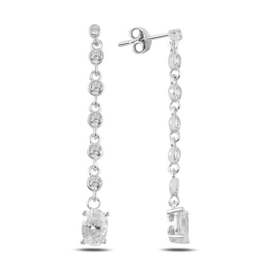 Ürün resmi: Rodyum Kaplama Oval Zirkon Taşlı Sallantılı Çivili Gümüş Küpe