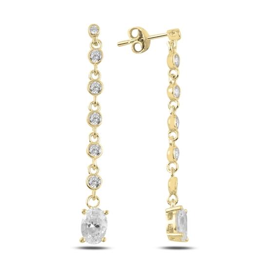 Ürün resmi: Altın Kaplama Oval Zirkon Taşlı Sallantılı Çivili Gümüş Küpe