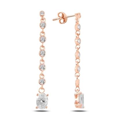 Resim Rose Kaplama Oval Zirkon Taşlı Sallantılı Çivili Gümüş Küpe