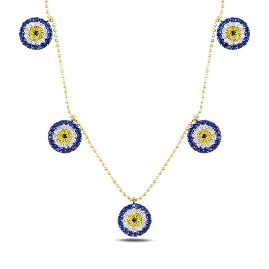 Ürün resmi: Altın Kaplama Sosyete Gözü Zirkon Taşlı Sallantılı Gümüş Bayan Kolye