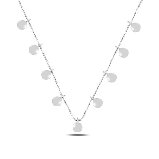 Ürün resmi: Rodyum Kaplama Bombeli Yuvarlak Sallantılı Gümüş Bayan Kolye