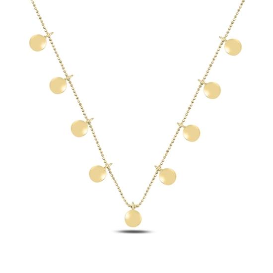 Ürün resmi: Altın Kaplama Bombeli Yuvarlak Sallantılı Gümüş Bayan Kolye