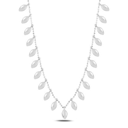 Resim Rodyum Kaplama Bombeli Mekik Sallantılı Gümüş Bayan Kolye