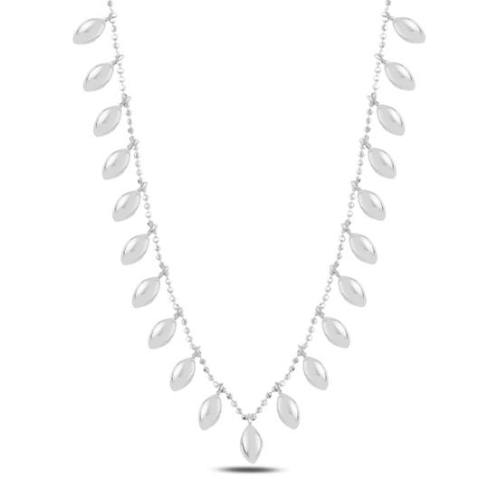 Ürün resmi: Rodyum Kaplama Bombeli Mekik Sallantılı Gümüş Bayan Kolye