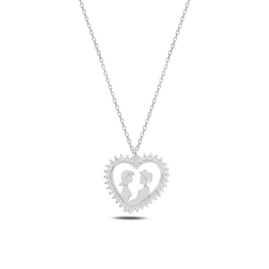 Ürün resmi: Rodyum Kaplama Kalp İçinde Çift Zirkon Taşlı Gümüş Bayan Kolye