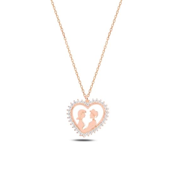Ürün resmi: Rose Kaplama Kalp İçinde Çift Zirkon Taşlı Gümüş Bayan Kolye
