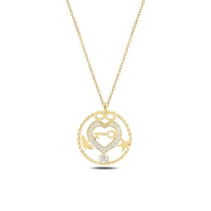 Resim Altın Kaplama Kalp, Sonsuzluk, Yıldız, Yusufçuk & Anahtar Zirkon Taşlı Gümüş Bayan Kolye