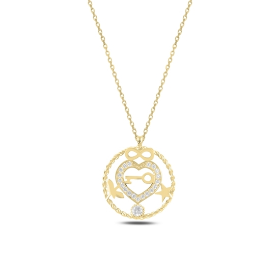 Ürün resmi: Altın Kaplama Kalp, Sonsuzluk, Yıldız, Yusufçuk & Anahtar Zirkon Taşlı Gümüş Bayan Kolye
