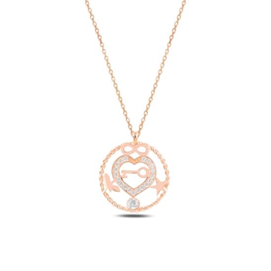 Ürün resmi: Rose Kaplama Kalp, Sonsuzluk, Yıldız, Yusufçuk & Anahtar Zirkon Taşlı Gümüş Bayan Kolye