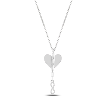 Resim Rodyum Kaplama Kalp & Sallantılı Sonsuzluk Baget Zirkon Taşlı Gümüş Bayan Kolye