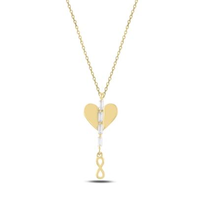 Resim Altın Kaplama Kalp & Sallantılı Sonsuzluk Baget Zirkon Taşlı Gümüş Bayan Kolye