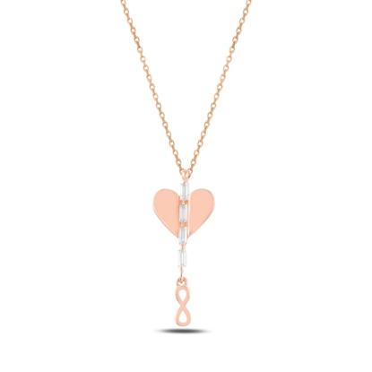 Resim Rose Kaplama Kalp & Sallantılı Sonsuzluk Baget Zirkon Taşlı Gümüş Bayan Kolye