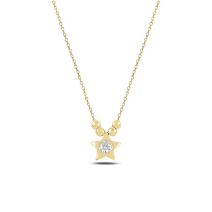 Resim Altın Kaplama Top & Yıldız Zirkon Tektaş Gümüş Bayan Kolye
