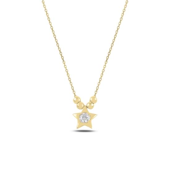 Ürün resmi: Altın Kaplama Top & Yıldız Zirkon Tektaş Gümüş Bayan Kolye