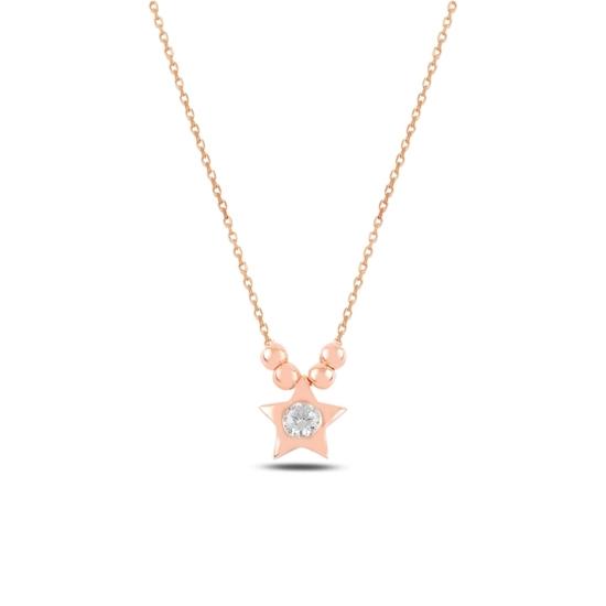 Ürün resmi: Rose Kaplama Top & Yıldız Zirkon Tektaş Gümüş Bayan Kolye