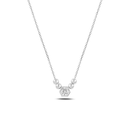 Ürün resmi: Rodyum Kaplama Top & Zirkon Tektaş Gümüş Bayan Kolye