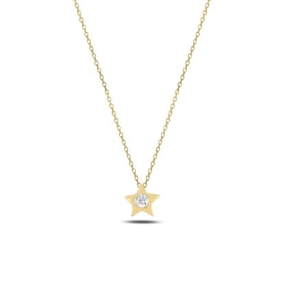 Resim Altın Kaplama Yıldız Zirkon Tektaş Gümüş Bayan Kolye