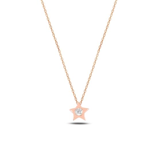 Ürün resmi: Rose Kaplama Yıldız Zirkon Tektaş Gümüş Bayan Kolye