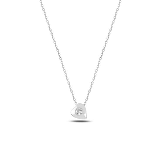 Ürün resmi: Rodyum Kaplama Kalp Zirkon Tektaş Gümüş Bayan Kolye