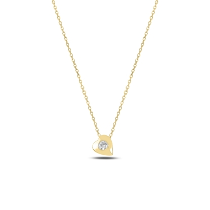 Resim Altın Kaplama Kalp Zirkon Tektaş Gümüş Bayan Kolye