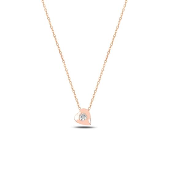 Ürün resmi: Rose Kaplama Kalp Zirkon Tektaş Gümüş Bayan Kolye