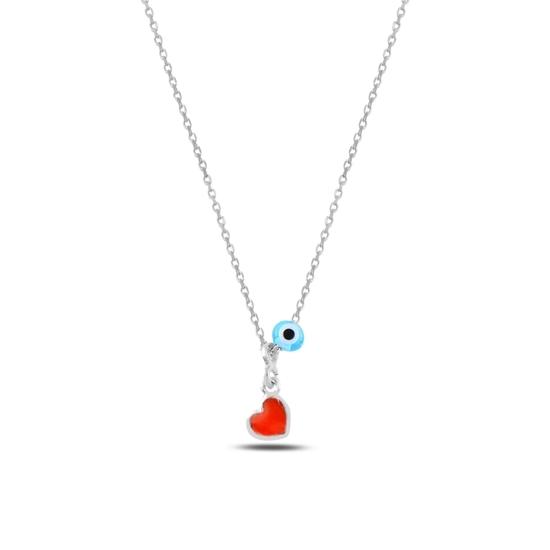 Ürün resmi: Rodyum Kaplama Göz & Kalp Mineli Gümüş Bayan Kolye