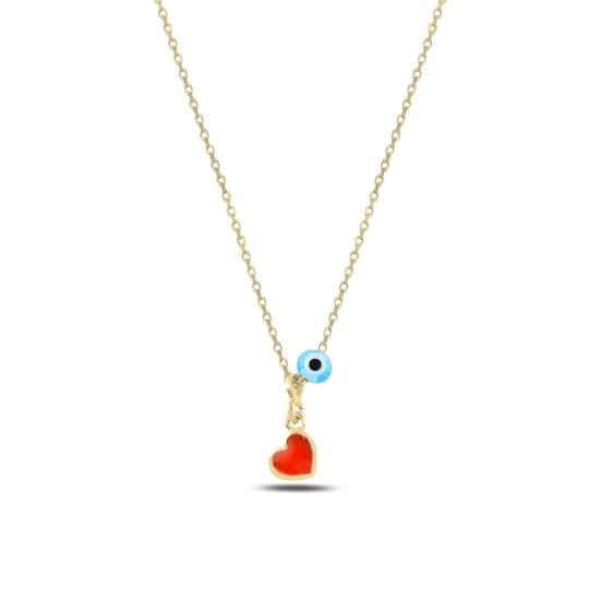 Ürün resmi: Altın Kaplama Göz & Kalp Mineli Gümüş Bayan Kolye