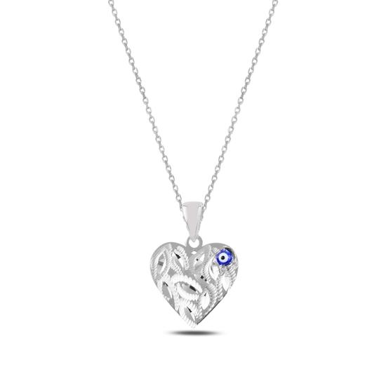 Ürün resmi: Rodyum Kaplama Göz & Kalp Gümüş Bayan Kolye