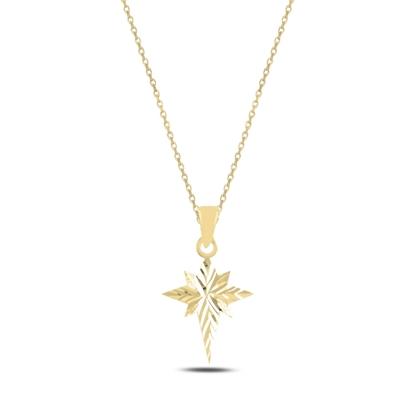 Resim Altın Kaplama Kutup Yıldızı Gümüş Bayan Kolye