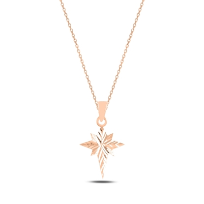Resim Rose Kaplama Kutup Yıldızı Gümüş Bayan Kolye