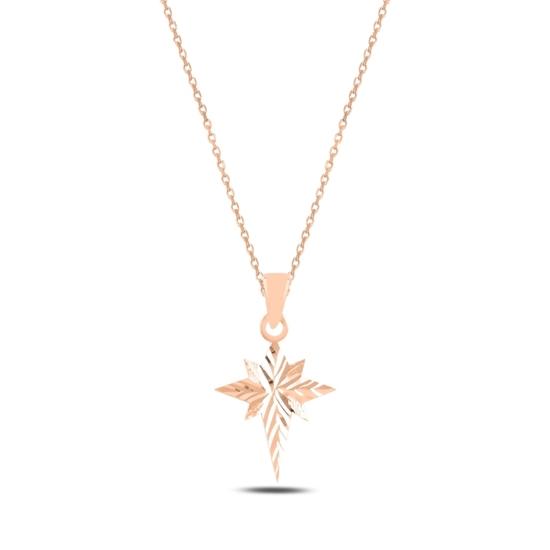 Ürün resmi: Rose Kaplama Kutup Yıldızı Gümüş Bayan Kolye