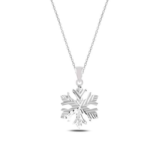 Ürün resmi: Rodyum Kaplama Kar Tanesi Gümüş Bayan Kolye
