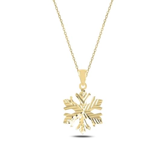 Ürün resmi: Altın Kaplama Kar Tanesi Gümüş Bayan Kolye