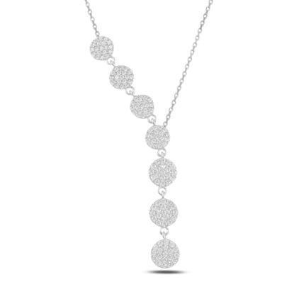 Resim Rodyum Kaplama Yuvarlak Zirkon Taşlı Sallantılı Gümüş Bayan Y Kolye