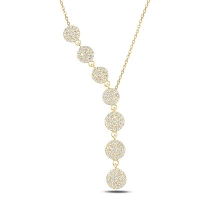 Resim Altın Kaplama Yuvarlak Zirkon Taşlı Sallantılı Gümüş Bayan Y Kolye