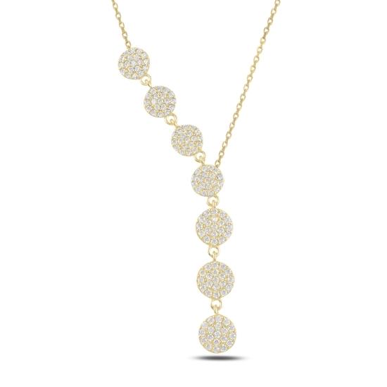 Ürün resmi: Altın Kaplama Yuvarlak Zirkon Taşlı Sallantılı Gümüş Bayan Y Kolye