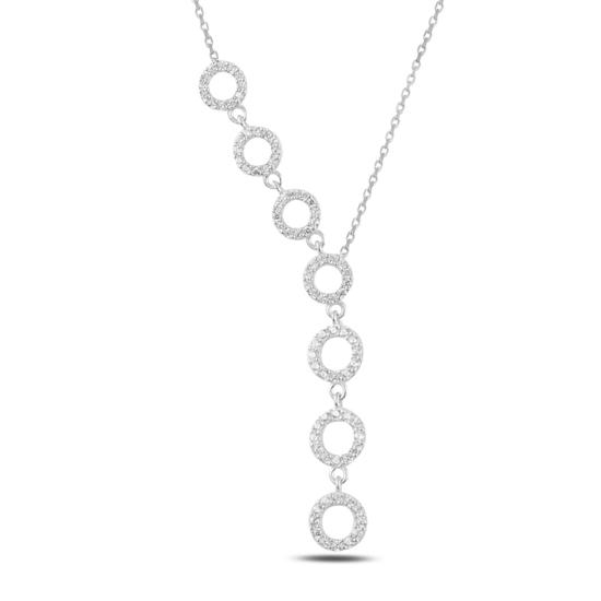Ürün resmi: Rodyum Kaplama Halka Zirkon Taşlı Sallantılı Gümüş Bayan Y Kolye