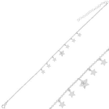 Resim Rodyum Kaplama Sallantılı Yıldız Zirkon Taşlı Halhal