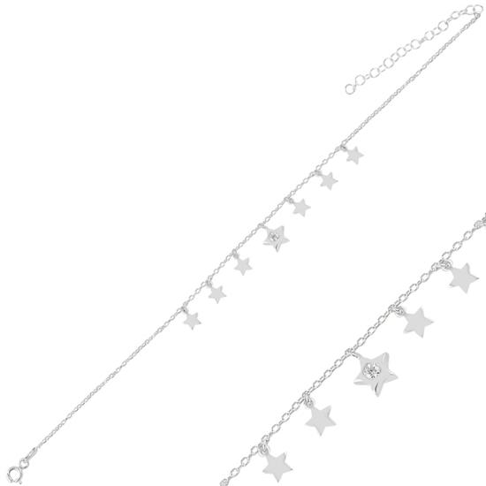 Ürün resmi: Rodyum Kaplama Sallantılı Yıldız Zirkon Taşlı Halhal