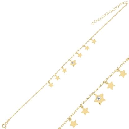 Resim Altın Kaplama Sallantılı Yıldız Zirkon Taşlı Halhal