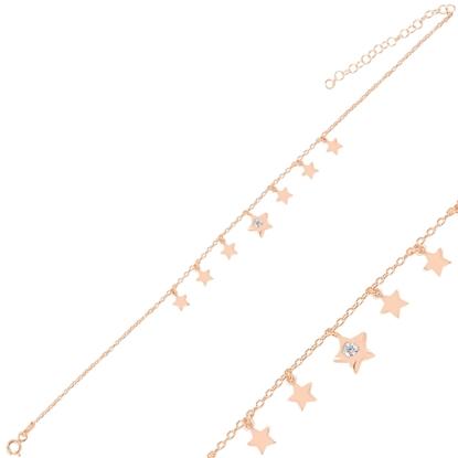 Resim Rose Kaplama Sallantılı Yıldız Zirkon Taşlı Halhal