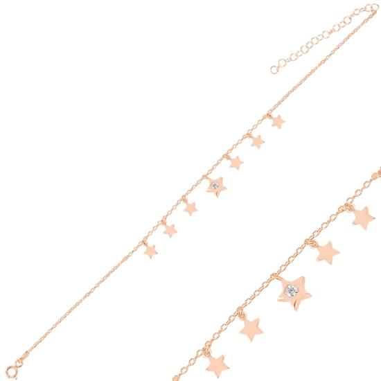 Ürün resmi: Rose Kaplama Sallantılı Yıldız Zirkon Taşlı Halhal