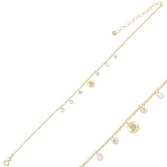 Ürün resmi: Altın Kaplama Sallantılı Zirkon Taşlı Halhal