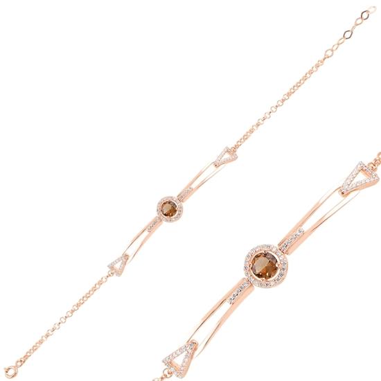 Ürün resmi: Rose Kaplama Zultanit & Zirkon Taşlı Gümüş Bayan Bileklik