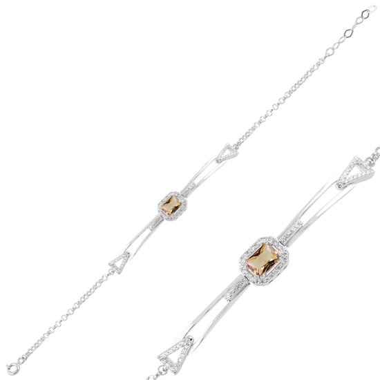 Ürün resmi: Rodyum Kaplama Zultanit & Zirkon Taşlı Gümüş Bayan Bileklik
