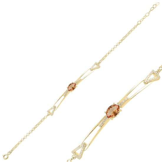 Ürün resmi: Altın Kaplama Zultanit & Zirkon Taşlı Gümüş Bayan Bileklik