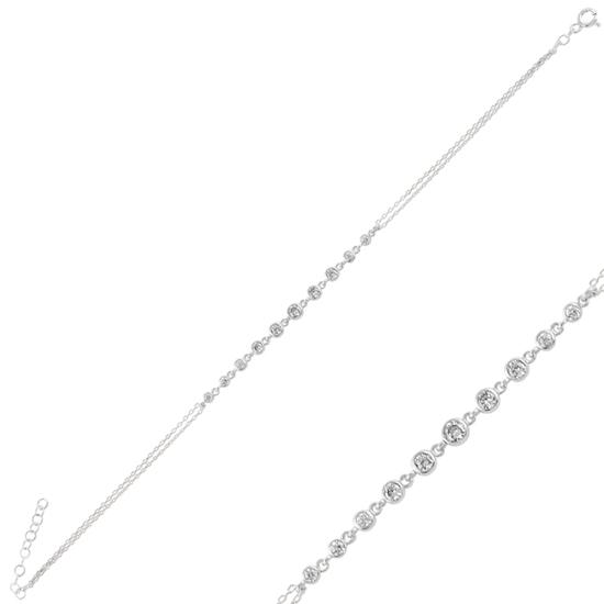 Ürün resmi: Rodyum Kaplama Zirkon Taşlı Suyolu Gümüş Bayan Bileklik