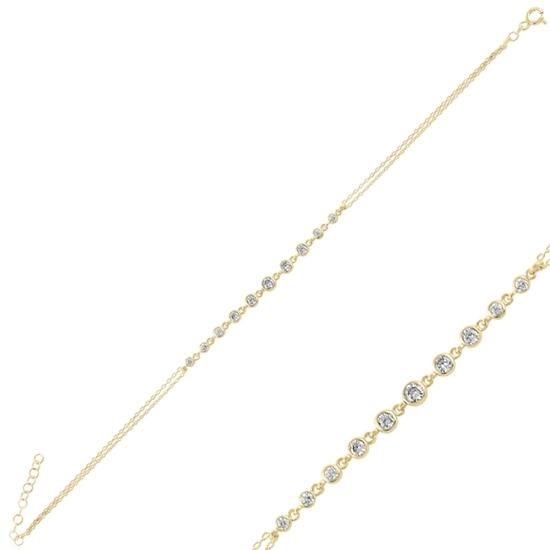 Ürün resmi: Altın Kaplama Zirkon Taşlı Suyolu Gümüş Bayan Bileklik